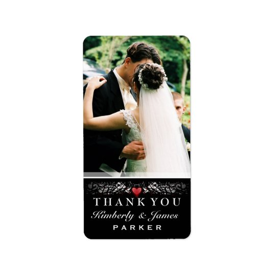Black & White Red Heart Wedding Thank You Photo Label
