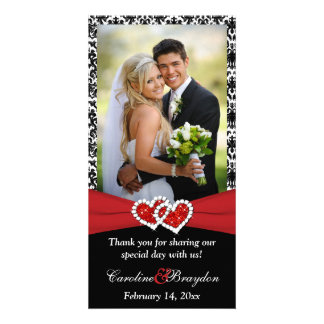 Black White Red Joined Hearts Wedding Photocard Photo Greeting Card