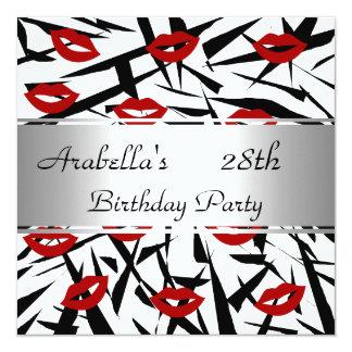 Black White Red Lips Invite Birthday Party