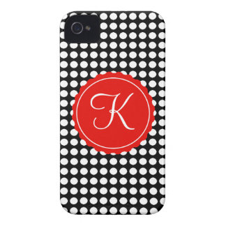 Black, White & Red Polka Dots Custom Initial Case-Mate iPhone 4 Case