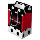 Black White & Red Polka Dots & Monogram Medium Gift Bag