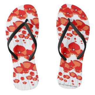 Black & White Red Poppy Flower Flip Flop Sandals