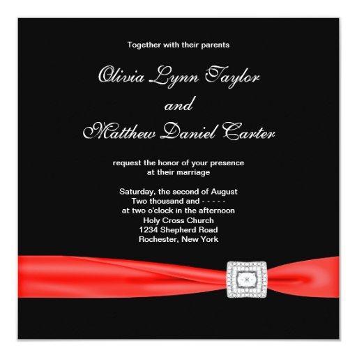 Black White Red Red Black Wedding 525x525 Square Paper Invitation Card