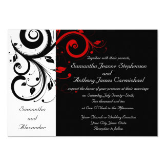 "Black/White/Red Reverse Swirl Wedding Invitations 5"" X 7"" Invitation Card"