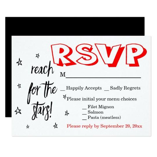 Black White & Red RSVP Wedding Motivational Dreams Card