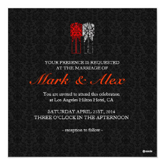 Black White & Red Same-Sex Couples Wedding Invite