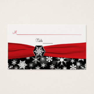 Black, White, Red Snowflakes Place Cards