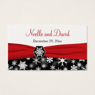 Black, White, Red Snowflakes Wedding Favor Tag