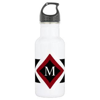 Black, White & Red Stylish Diamond Shaped Monogram 532 Ml Water Bottle