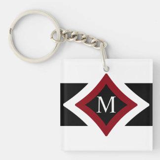 Black, White & Red Stylish Diamond Shaped Monogram Double-Sided Square Acrylic Keychain