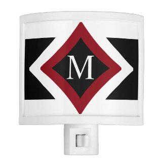 Black, White & Red Stylish Diamond Shaped Monogram Night Lites