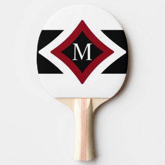 Black, White & Red Stylish Diamond Shaped Monogram Ping Pong Paddle