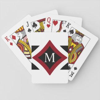 Black, White & Red Stylish Diamond Shaped Monogram Playing Cards