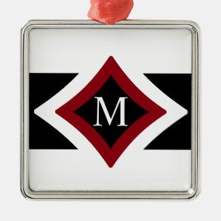 Black, White & Red Stylish Diamond Shaped Monogram Silver-Colored Square Ornament