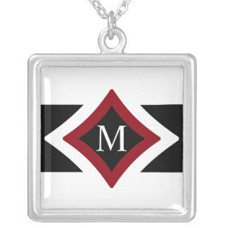 Black, White & Red Stylish Diamond Shaped Monogram Silver Plated Necklace