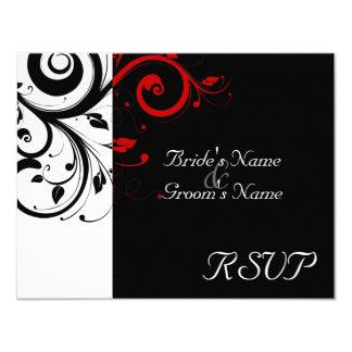 "Black +White Red Swirl Wedding Matching RSVP 4.25"" X 5.5"" Invitation Card"