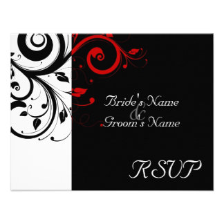 Black +White Red Swirl Wedding Matching RSVP Personalized Announcement