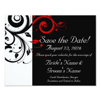 Black, White, Red Swirl Wedding Save the Date Card
