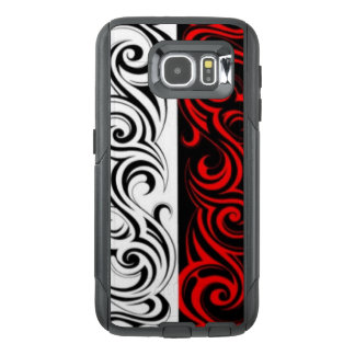 Black White Red Swirly Abstract Design OtterBox Samsung Galaxy S6 Case