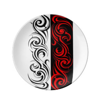 Black White Red Swirly Abstract Design Plate