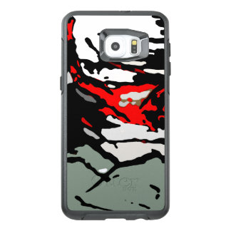 Black White Red Turquoise Pattern OtterBox Samsung Galaxy S6 Edge Plus Case