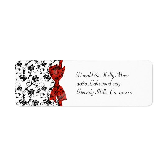 Black White & Red Wedding Satin Floral Return Address Label