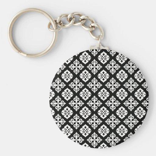 Black & White Regal Pattern Keychain