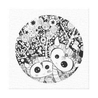 Black & White Reindeer | Square Canvas Print