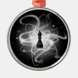 Black & White Retro Atomic Chess Piece - Bishop Metal Ornament