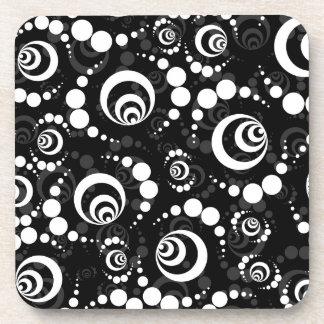 Black White Retro Crop Circles Beverage Coasters