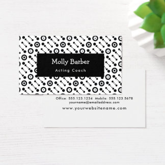 Black & White Retro Dots, Circles, Target: Pattern Business Card