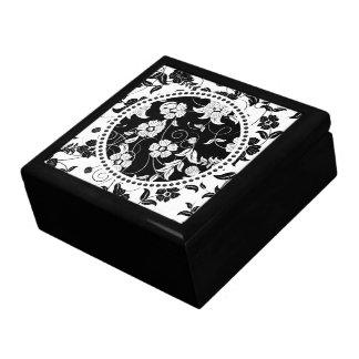Black & White Retro Flowers & Swirls 2 Keepsake Boxes