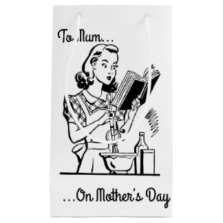 Black & White Retro Mother's Day Small Gift Bag