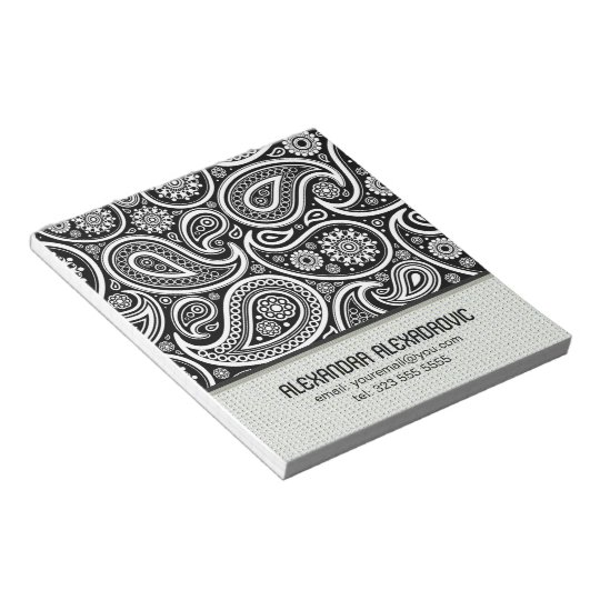 Black & White Retro Paisley Pattern 2-Custom Text Notepad