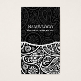 Black & White Retro Paisley Pattern Business Card