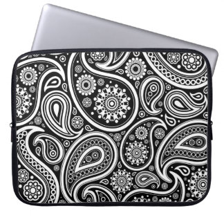 Black & White Retro Paisley Pattern Laptop Computer Sleeves