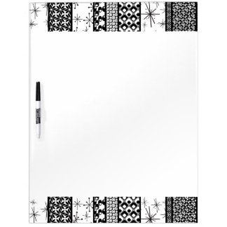 Black & White Retro Pattern Stripes 1 Dry Erase Board