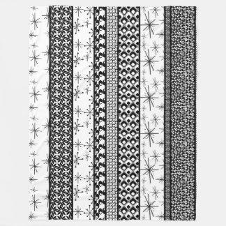 Black & White Retro Pattern Stripes 1 Fleece Blanket