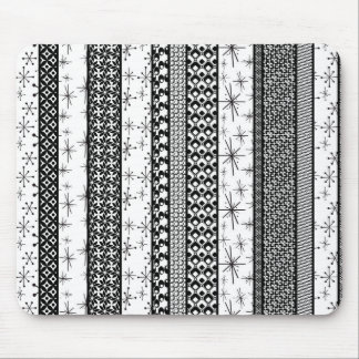 Black & White Retro Pattern Stripes 1 Mouse Pad