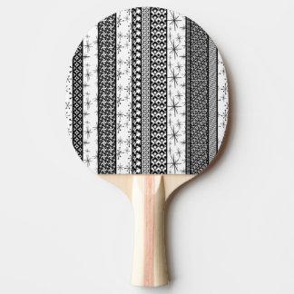 Black & White Retro Pattern Stripes 1 Ping Pong Paddle