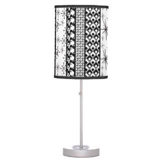 Black & White Retro Pattern Stripes 1 Table Lamp