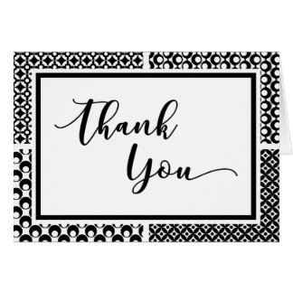 Black & White Retro Pattern Thank You Card 2