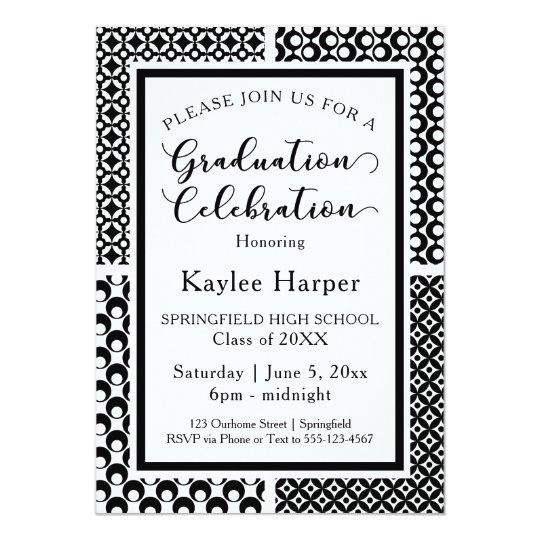 Black & White Retro Patterns Graduation Party Card
