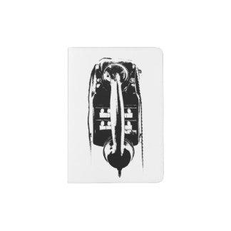 Black & White Retro Phone - Passport holder