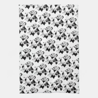 Black & White Retro Valentine's Dancers Kitchen Towel