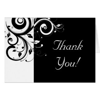 Black + White Reverse Swirl Thank You Cards