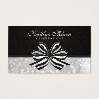 Black White Ribbon / Damask / Bokeh Business Card
