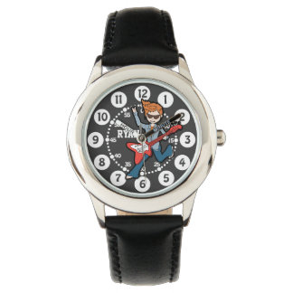Black white rockstar guitar boy named wrist watch