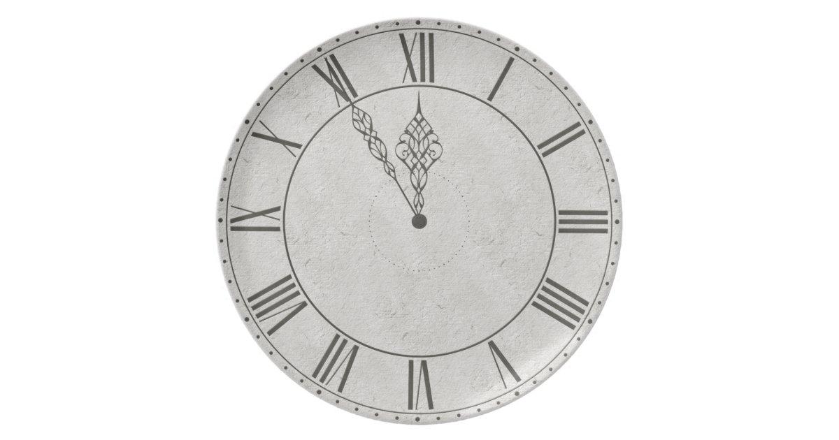 Black & White Roman Numeral Clock Face Dinner Plates