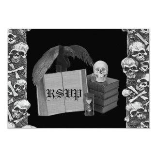 Black & White Romance Skull Spellbook Wedding Card